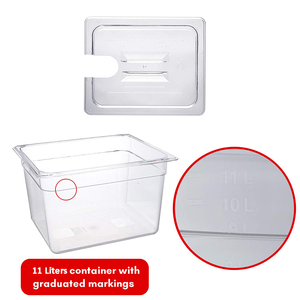 Sous Vide Container with Lid 11 Liter Water Tank Bath for Circulator Sous Vide Culinary Immersion Slow Cooker Biolomix