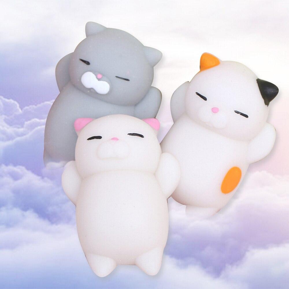 ALANGDUO 10pcs Cute Mochi Squishy Cat Squeeze Healing Fun Kids Kawaii Toy Stress Reliever Decor ...