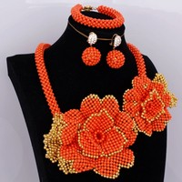 Beautiful Antique Set Braid Flowers African Jewelry Set Indian Orange and Gold Jewelry set Free Shipping 2018 Party Jewellery