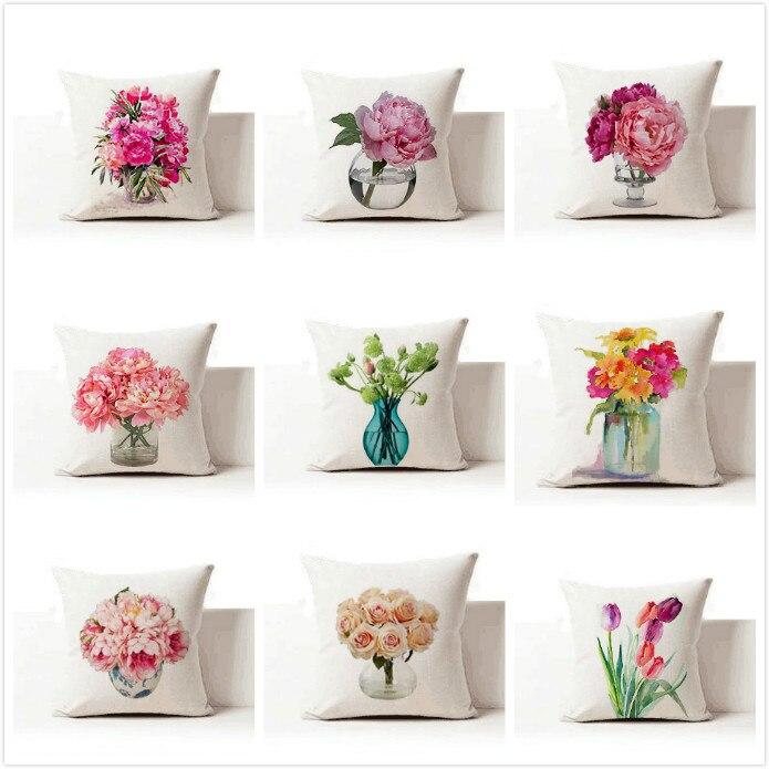Бесплатная доставка/современная мода цветок вазы, хлопок и лен удержания подушки для опираясь на 43*43 без core