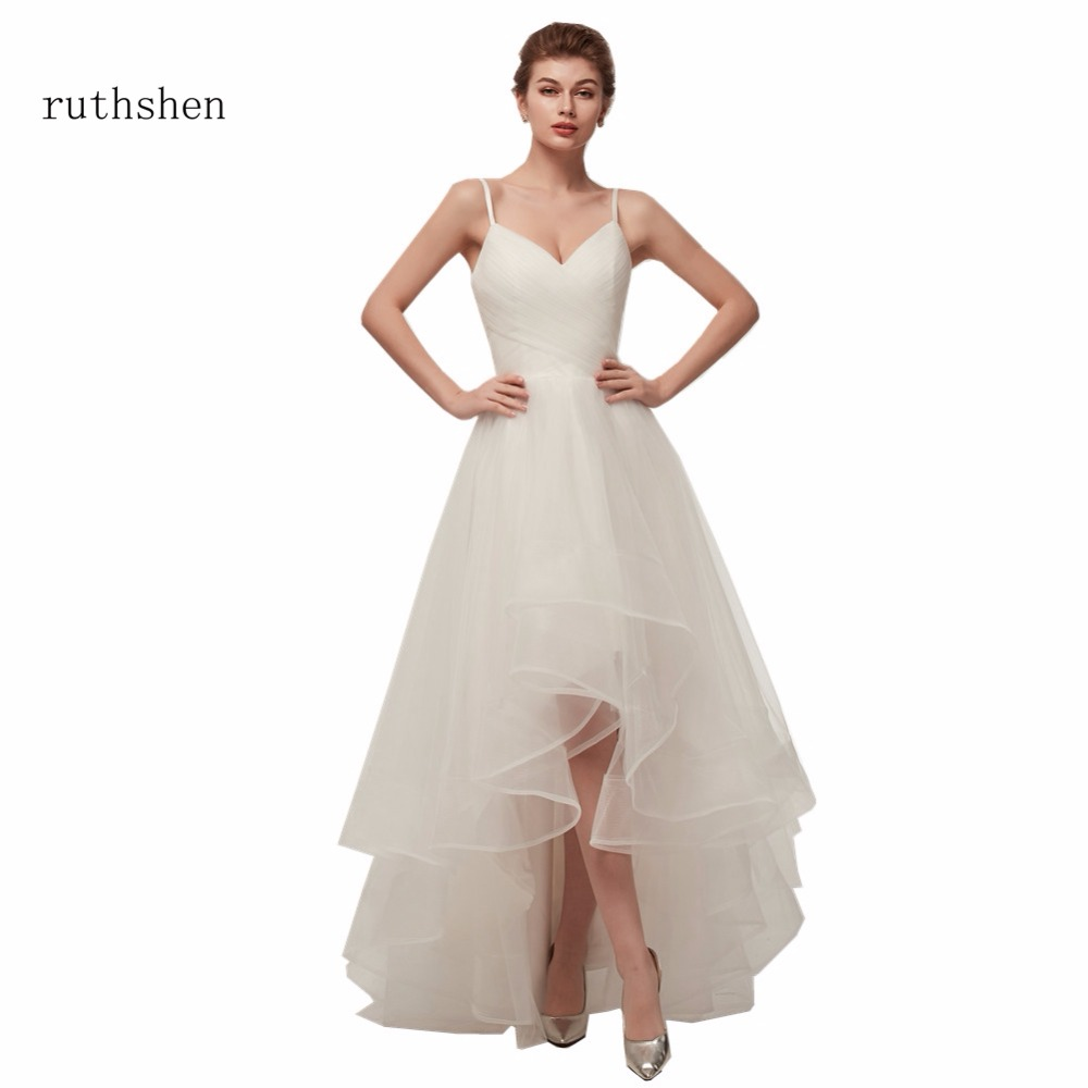 ruthshen Cheap High Low Wedding Dresses 2018 Spaghetti Straps Simple V Neck Tulle Short Front Long