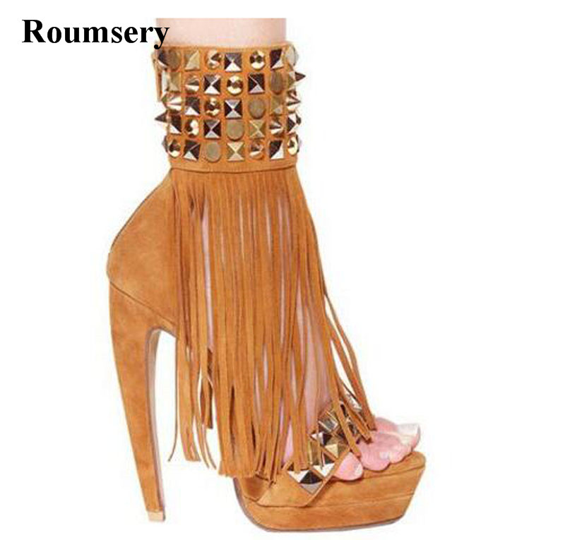 Women Unique Fashion Open Toe Ankle Wrap Spike Tassels Ankle Boots Strange Heel Rivet High Heel Short Boots Gladiator Boots