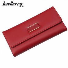 be6f0a21c292 2018 Baellerry Women Wallets Long PU Leather Cell Phone Pocket Red Female  Wallet For Girl Big