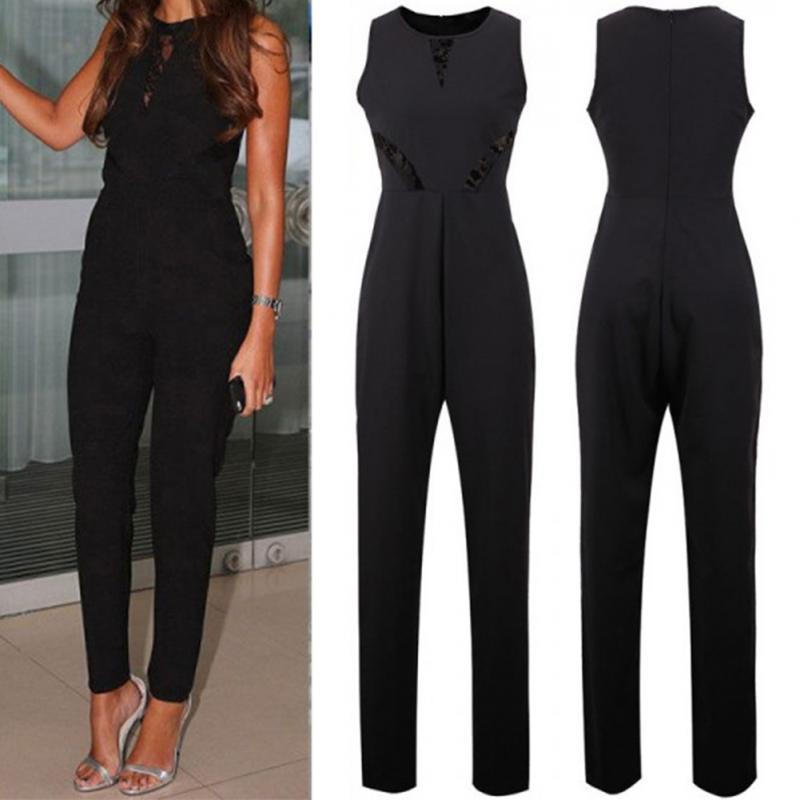 Women Summer Clothes Sleeveless Jumpsuit Lace Playsuit Ladies Thin Fabric Slim Long Pants Full Length Jumpsuit