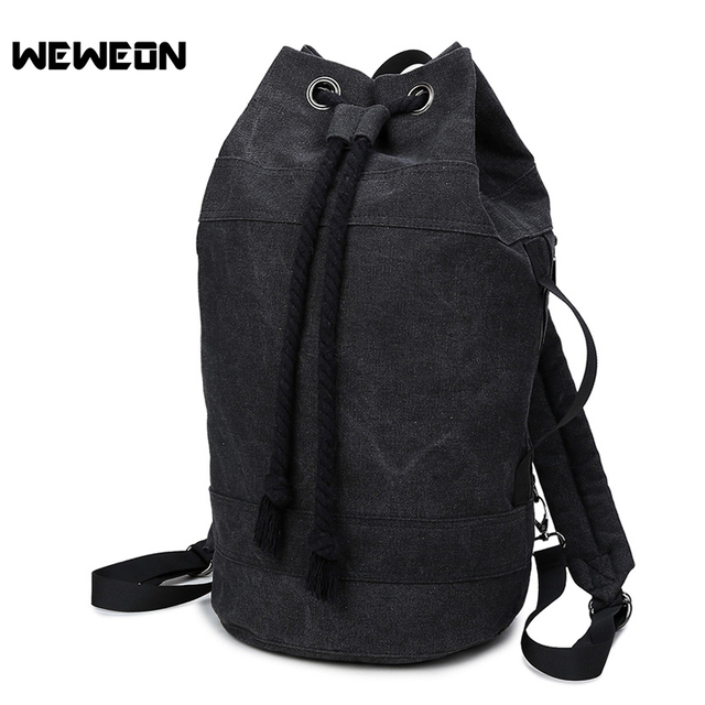 df0330a25 Durable Canvas Sports Gym Bag for Men Black Fitness Basketball Training Bags  Multifunctional Outdoor Sport Drawstring