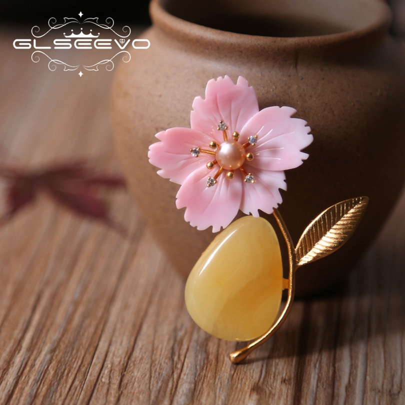GLSEEVO Natural Fresh Water Pearl Beeswax Brooch Pins Mother Of Pearl Flower Brooches For Women Dual Use Luxury Jewelry GO0194 baroque natural fresh water pearl brooch pins copper with cubic zircon maple leaf brooch pins office career fashion women jewel
