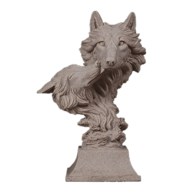 Lion Horse Double-Head Wolf Head Bust Sculpture Animal Living Room Sandstone Crafts Home Decoration Accessories R100