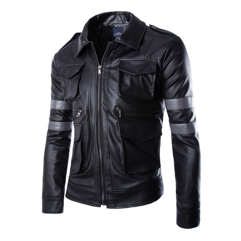Herobiker Motorcycle Jacket Men Classical Vintage Retro PU Leather Jacket Biker Windproof PU Leather Casual Moto Jacket Clothing