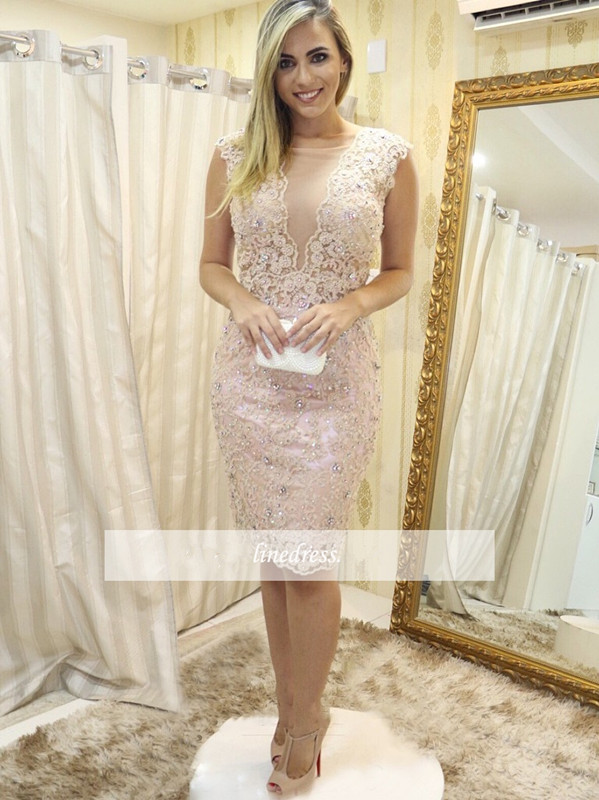 2019 Elegant Cocktail Dresses Sheath Cap Sleeves Knee Length Lace Crystals Party Plus Size Homecoming Dresses