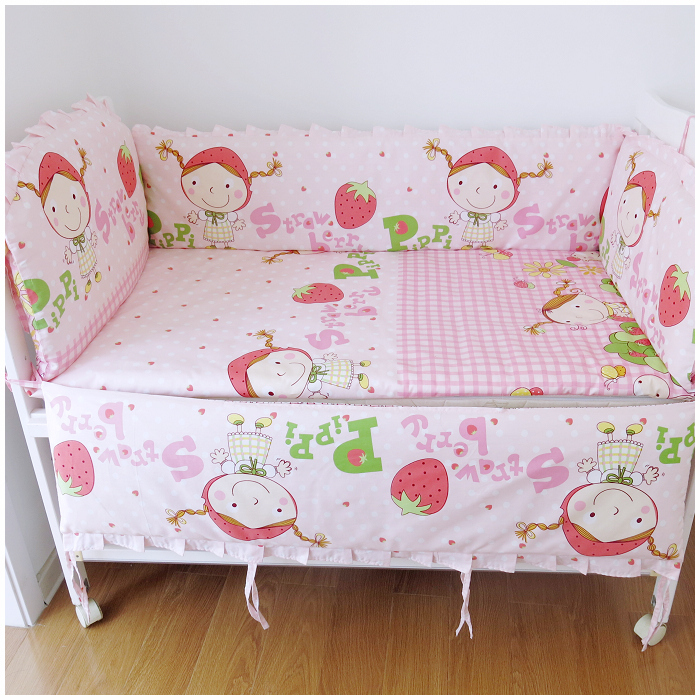Bedding Sets Strawberry Girl Crib Sets,Baby Crib Cot Bumper,Cot Bumper,Pink,Cotton, Materials(bumper+sheet+pillow cover) pink french toile fitted crib sheet for baby and toddler bedding sets by sweet jojo designs toile print