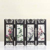 China wind four flower glass screen miniature vintage home decor home decoration accessories figurines miniaturas