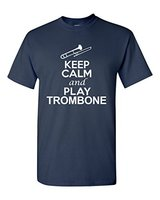 Benutzerdefinierte T Shirts Billige Stadt Shirts Halten Sie Ruhe Und Posaune musik Liebhaber DT Erwachsene Kurze Lustige Rundhals T-shirt Für männer
