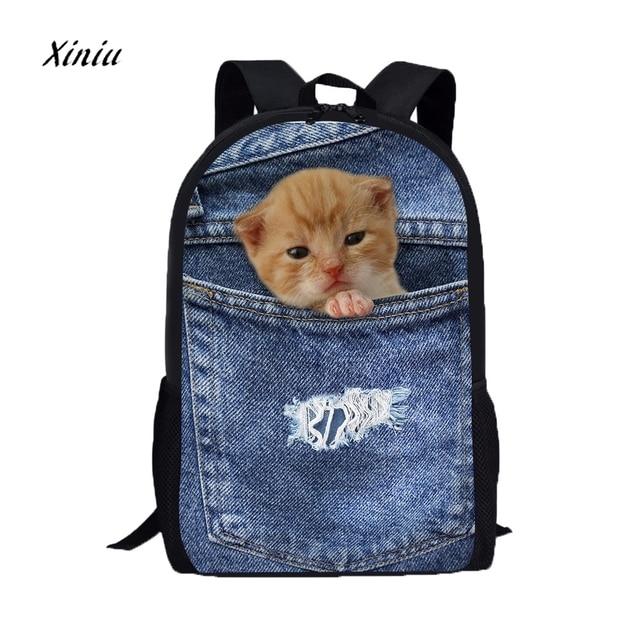 9a62e7dd3f4cb Sevimli kadın erkek rahat sırt çantası 3D hayvan baskı kedi köpek sırt  çantası öğrenci okul üniversite