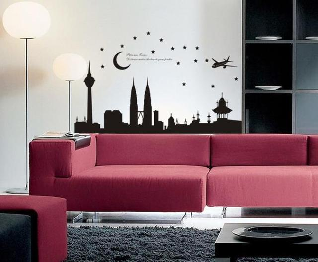 b40536 malaysia twin building home decor removable wall sticker