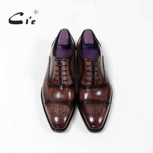 Image 3 - cie Bespoke Handmade Semi brogue Medallion Square Toe 100%Genuine Calf Leather Mens Dress Oxford Goodyear Welted Men Shoe OX 09