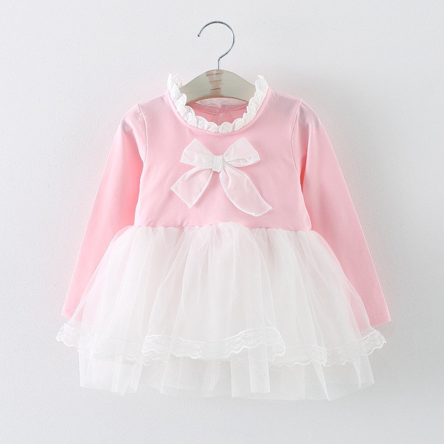 new 2016 spring autumn bow baby girl dress cute long sleeve mesh patchwork newborn princess dress for 4~24 month infants clothes