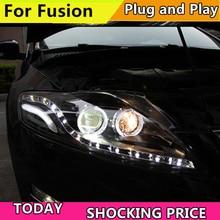 تصفيف السيارة رئيس مصباح غطاء لسيارة فورد مونديو 2007 2012 العلوي ل فيوجن العلوي DRL الخيار عيون الملاك ثنائية زينون عدسة منخفضة شعاع