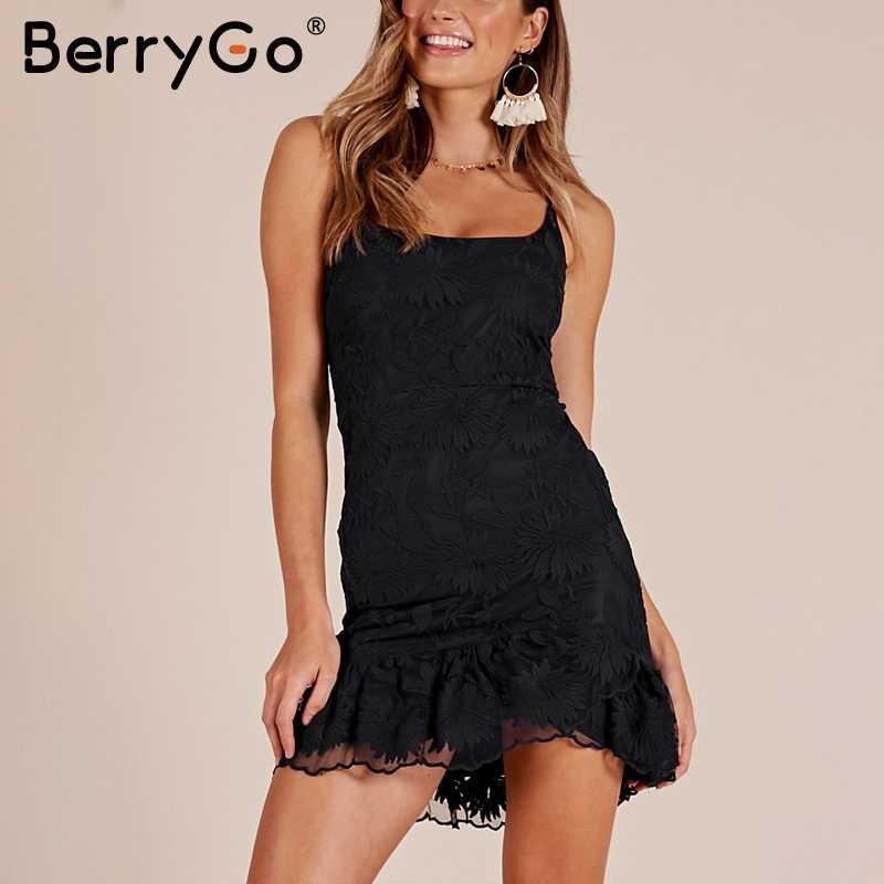 BerryGo, кружевное платье с открытой спиной, на шнуровке, на бретелях, женское, с оборками, бодикон, сексуальное платье для вечеринки, черное, 2018, зимнее, белое, мини платье vestidos