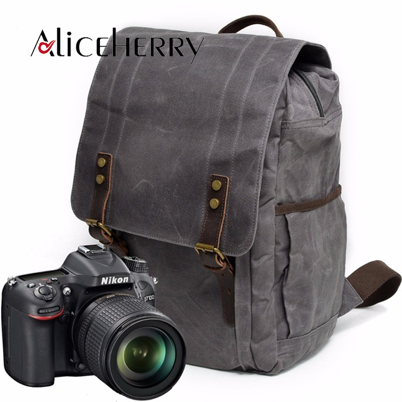 Waterproof Canvas Leather Backpacks Men Travel Mochila School Backpack Photography Package Bolso Male Sac Bag Laptop Camera Bags 13 laptop backpack bag school travel national style waterproof canvas computer backpacks bags unique 13 15 women retro bags