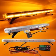 """30 """"47"""" 55 """"72"""" COB LED kanun İcra acil yanıp sönen uyarı Lightbar araba kamyon üst çatı çakarlı lamba çubuğu Amber sarı"""