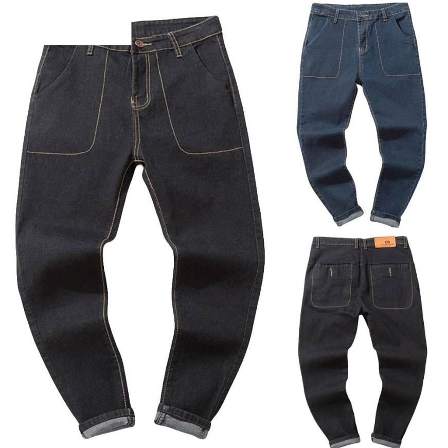 JAYCOSIN Jeans Men 2018 Street Pants Men Fitness Bodybuilding Men Jeans Pants Straight With Pocket Plus Size Dropship 18Aug14