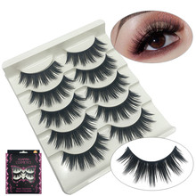5Pairs Multipack Mink Eyelashes Natural Long Cross Soft Lash Handmade Individual
