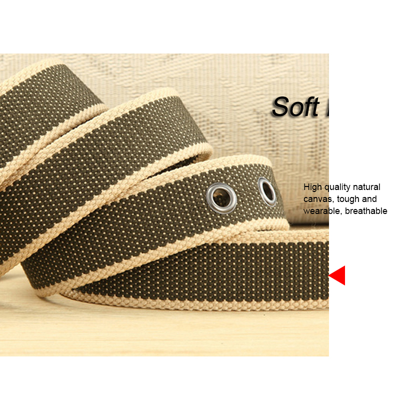 Mens Adults Buckle Belts Black White Brown Webbing Canvas Striped One Size Belt