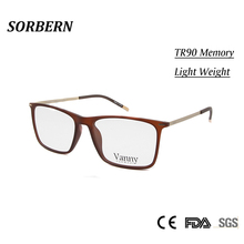 SORBERN Ultralight  TR90 Memory Eye Glasses Frames For Men Rectangle Brand Designer Male Prescription Spectacle