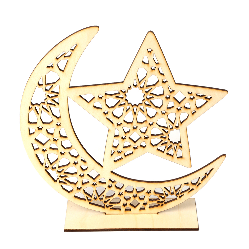 Berdiri Kayu Tanda Islam Eid Mubarak Ramadan Bulan Bintang Diy Seni Kerajinan Meja Ornamen Home Dekorasi Desktop Perlengkapan Pesta Patung Patung Miniatur Aliexpress