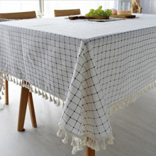 CFen As Nordic Simple Style Cotton Linen Tablecloth With Tassel Quality Table Cover Tea Cloth Kitchen Dining Place Mats
