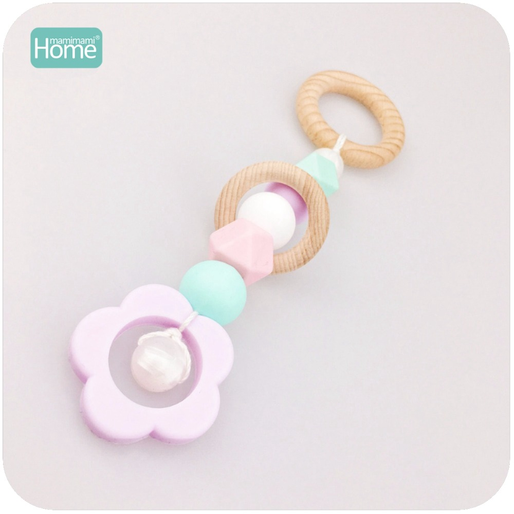 MamimamiHome Baby Play Gym Toy Pram Toy Toddler BPA Free Silicone Flower Teething Beads Beech Wooden Ring Baby Rattle ...