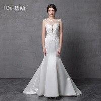 Атласные кружева русалка свадебное платье Иллюзия Вернуться без рукавов свадебное платье на заказ сделать