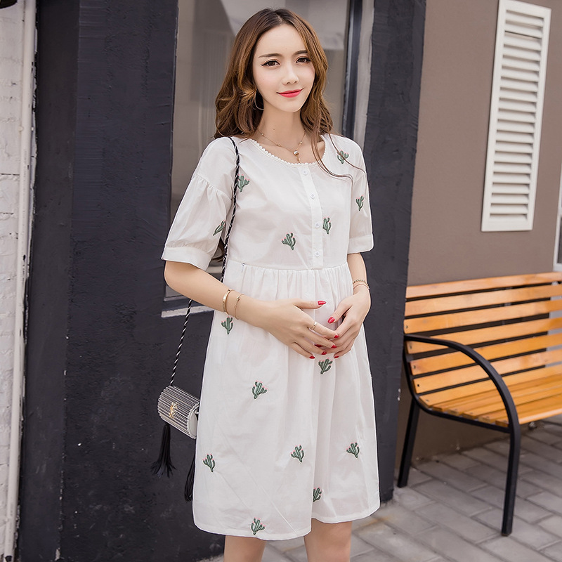 2018 Summer New Pregnant Women Breastfeeding dresst White printed Cotton woman dress loose