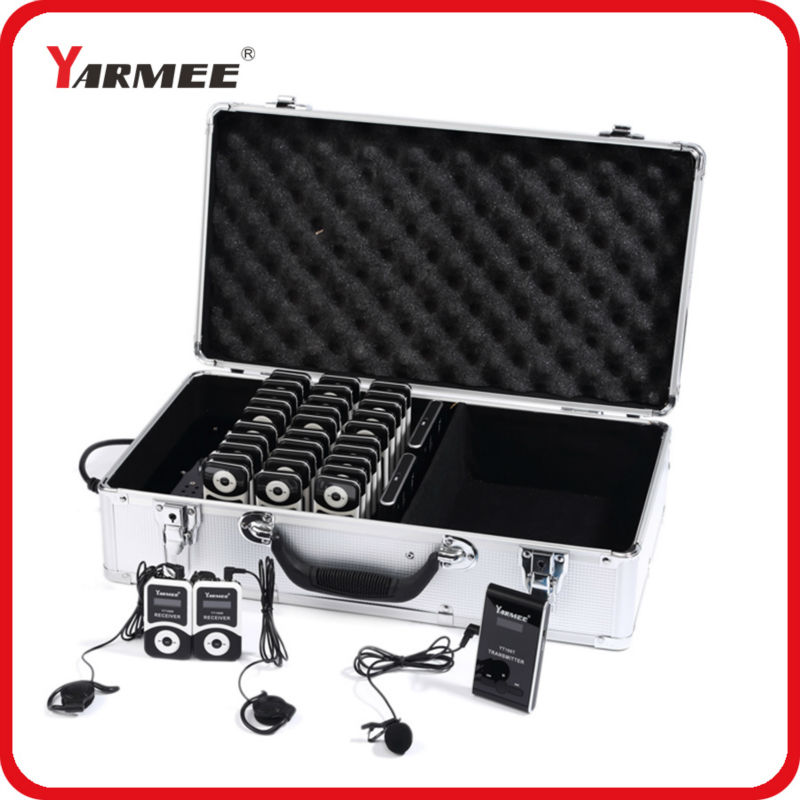 YARMEE whisper radio tour guide transmitter and receiver wireless tour guide system 2 transmitters+20 receivers+charger case dhl shipping atg100 portable mini meeting tourism teach microphone wireless tour guide system 1transmitter 15 receivers charger