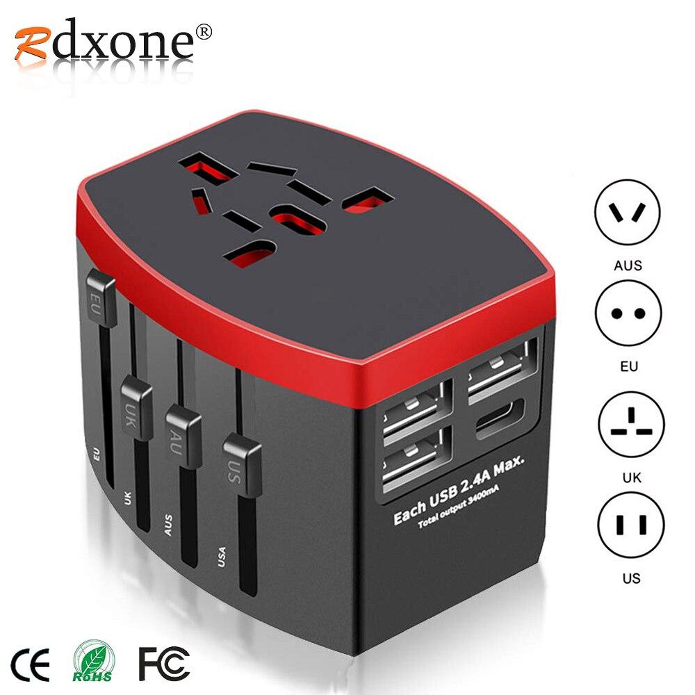 Rdxone Reise Adapter Internationalen Universal Power Adapter Alle-in-one mit Typ C 3 USB Weltweit Wand Ladegerät für UK/EU/AU/US