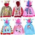 Envío gratis 2015 de moda mi pony pequeño bebé chicas chaquetas niños sudaderas con capucha lindo embroma la capa de ropa de algodón ropa