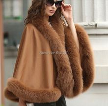 "free shipping/Lady's Genuine  Real Cashmere Genuine Fox  Fur Coat  ""A"" word style Cloak Poncho/shawl//cape Wraps/ Brown"