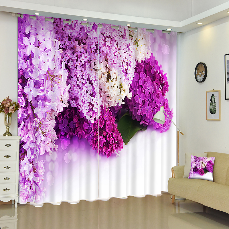 extraordinary cafe curtain living room   Senisaihon 3D Curtains Purple Flowers Pattern Panel Fabric ...