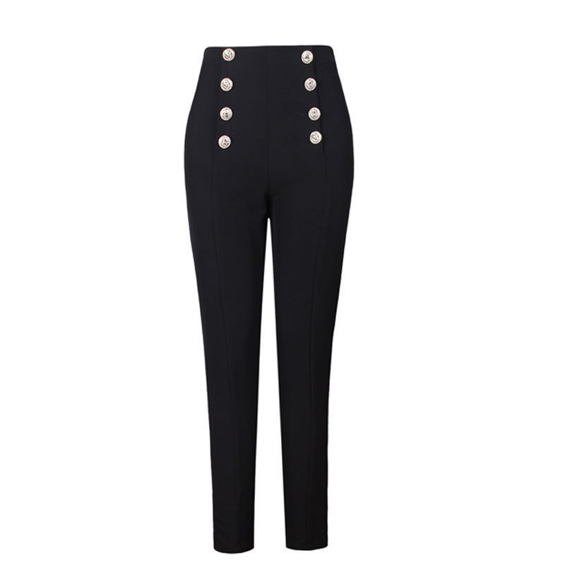 2019 Hot Selling Popular Style Elegant Women Solid Color Black & White Buttons Slim Penci   Pants   All-match Ankle-Length   Capris
