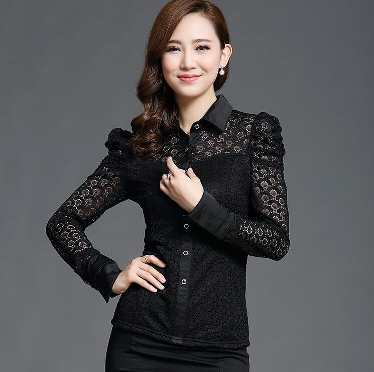 2017 New Women Casual Basic Autumn Winter Lace Chiffon Blouse Top Shirt Black Hollow out Embroidery patchwork Plus Size