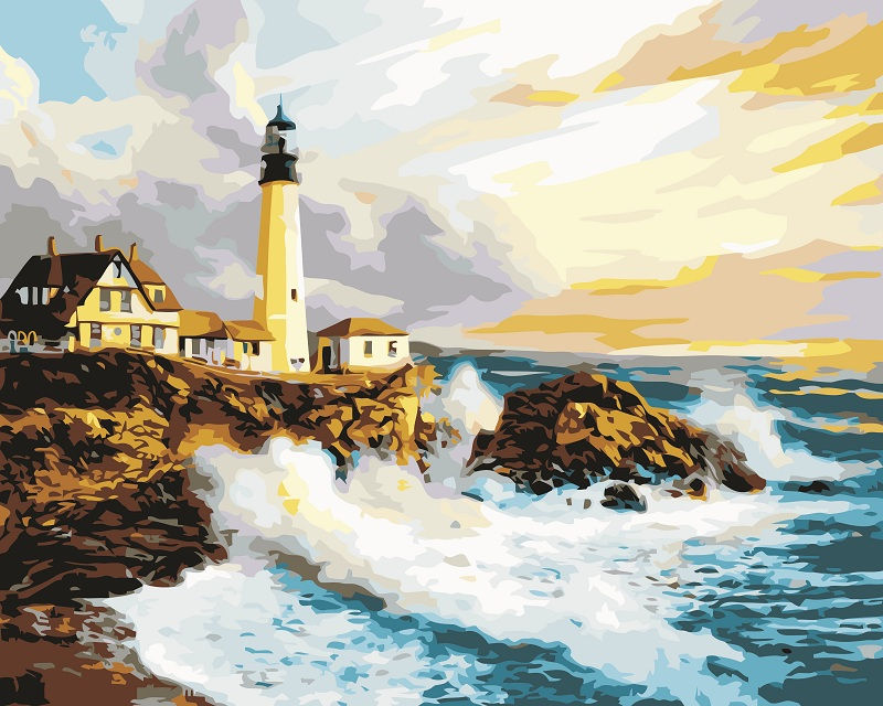 Large size lighthouse Seascape DIY Painitng By Numbers Home Wall Art Canvas Painting Hand Painted Acrylic Picture For Unique Gif in Painting Calligraphy from Home Garden