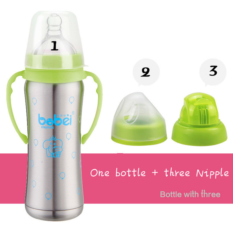 1 Bottle + 3 Nipple Stainless Steel Insulation Bottle High Quality Copo Inox Wide Mouth Thermos Baby Bottle 240ML Handle Garrafa