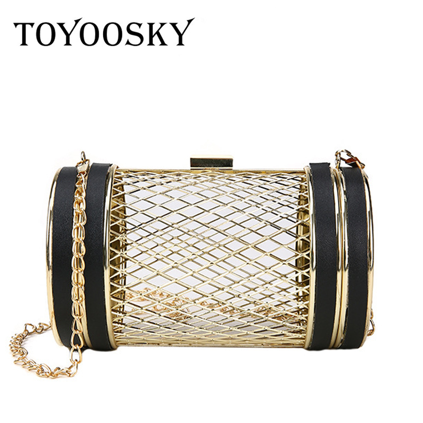 TOYOOSKY Fashion Design Personality Hollow Metal Cages Party Clutch Evening Bag Women Shoulder Bag Ladies Handbag Messenger BagsTOYOOSKY Fashion Design Personality Hollow Metal Cages Party Clutch Evening Bag Women Shoulder Bag Ladies Handbag Messenger Bags