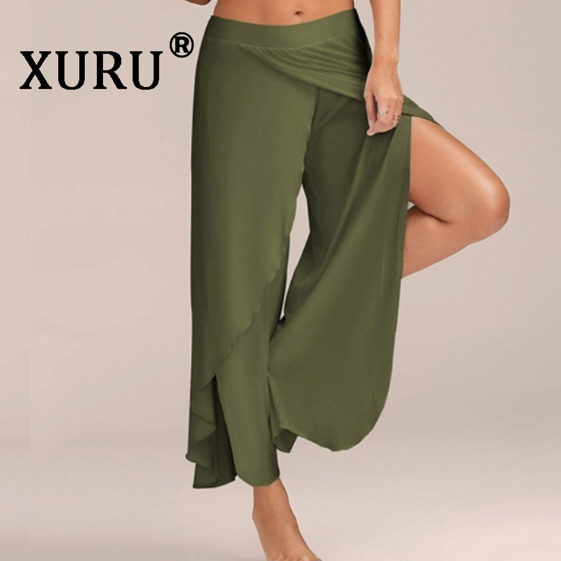 XURU Summer New Women's Sexy Cross-opening   Wide  -  leg     Pants   Women's   Pants   Solid Color Cotton Quality Loose   Pants   XL S-3XL-5XL