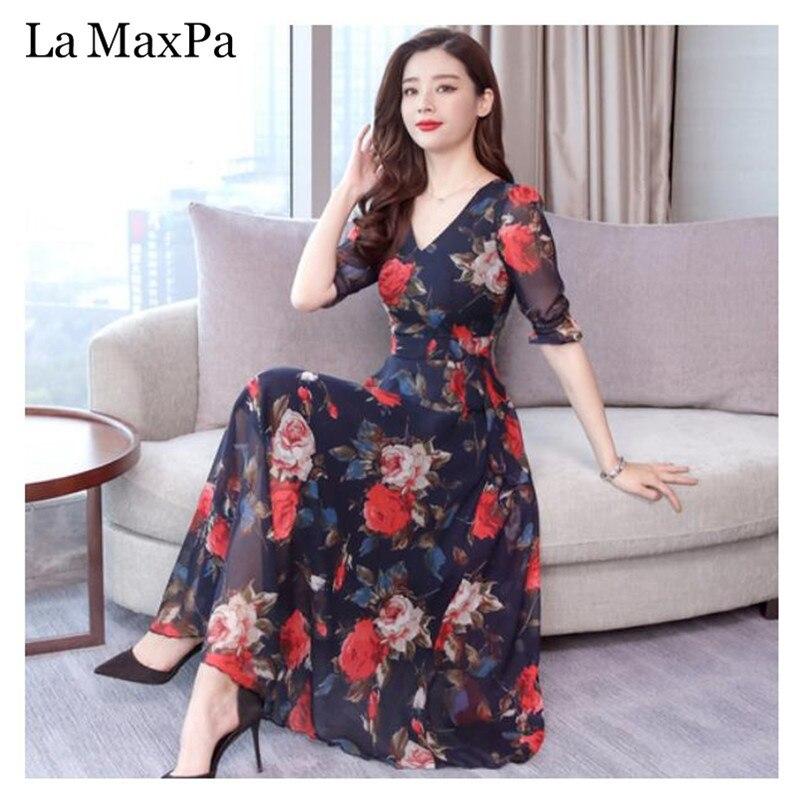 a7da405c1a63 La MaxPa Casual Loose Chiffon Print Dress 2019 New Arrival Summer Women  Bohemian V-collar