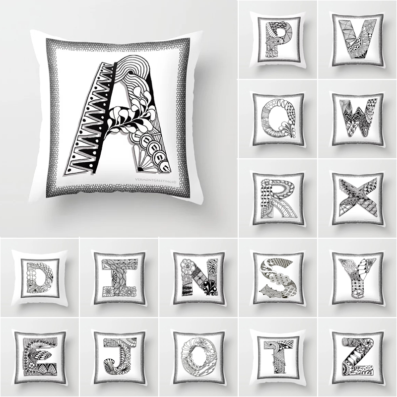 New Fashion Flower Wreath With Blue Letter Pillow Case 45*45 Print Pillow Cases Polyester Sofa Car Cushion Cover Home Wholesale Home Textile Cushion Cover