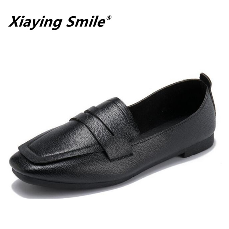 Xiaying Smile Women Flats Women Loafers Spring Summer comfortable Square Toe Slip On Casual Solid Shallow Nurse Women Shoes xiaying smile summer women sandals casual fashion lady square heel slip on flock shoes pointed toe cover heel lace bowtie shoes page 1