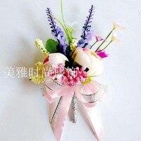 Wedding Boutonnieres Silk Rose Groom groomsman pin brooch artificial corsage suit decor flower accessories Bride wrist Flower