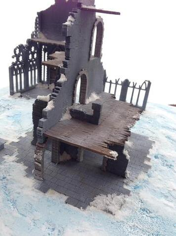 New Arrival Wooden Miniature Gothic Style Ruin As Picture