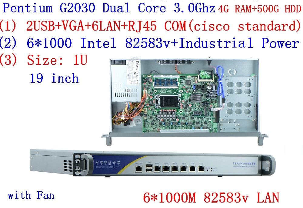Broadband VPN Router 1U Firewall Server With 6*Gigabit Lan Intel Pentium G2030 3.0G 4G RAM 500G HDD Mikrotik PFSense ROS Etc
